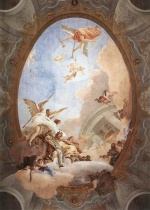 Giovanni Battista Tiepolo - paintings - Allegory of Merit Accompanied by Nobility and Virtue