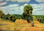 Camille  Pissarro - paintings - Harvest at Montfoucault
