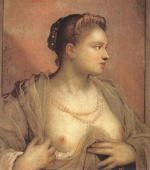 Jacopo Robusti Tintoretto - Bilder Gemälde - Portrait of a Women Revealing her Breasts