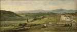 George Frederic Watts - Bilder Gemälde - Panoramic Landscape with a Farmhouse
