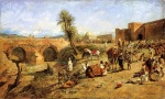 Edwin Lord Weeks - Bilder Gemälde - Arrival of a Caravan Outside the City of Marocco