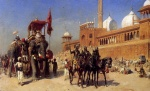 Edwin Lord Weeks - Bilder Gemälde - Great Mogul and his Court Returning from the Great Mosque at Delhi India