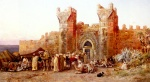 Edwin Lord Weeks  - Bilder Gemälde - The Departure of a Caravan from the Gate of Shelah Morocco