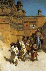 Edwin Lord Weeks  - Bilder Gemälde - The Maharahaj of Gwalior before his Palace