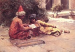 Edwin Lord Weeks  - Bilder Gemälde - Two Arabs Reading in a Courtyard
