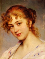 Eugene de Blaas - Bilder Gemälde - A Portrait of a Young Lady