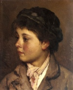 Eugene de Blaas - Bilder Gemälde - Head of a Young Boy