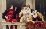 Eugene de Blaas - Bilder Gemälde - On the Balcony