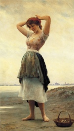 Eugene de Blaas - Bilder Gemälde - On the Beach