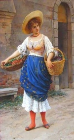 Eugene de Blaas - Bilder Gemälde - The Fruit Seller