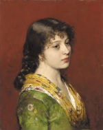 Eugene de Blaas - Bilder Gemälde - The Yellow Shawl
