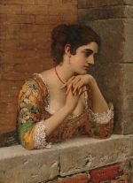 Eugene de Blaas  - Bilder Gemälde - Venetian Beauty on Balcony