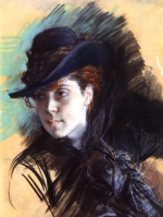 Giovanni Boldini - paintings - Girl in a Black Hat