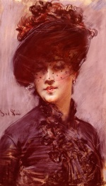 Giovanni Boldini - paintings - Lady with a Black Hat