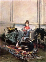 Giovanni Boldini - paintings - Peaceful Days (The Music Lesson)