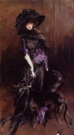 Giovanni Boldini - paintings - Portrait of the Marchesa Luisa Casati with a Greyhound