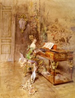 Giovanni Boldini  - Bilder Gemälde - The Lady Pianist