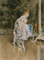 Giovanni Boldini  - Bilder Gemälde - The Beauty Before the Mirror