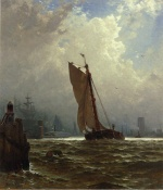 Alfred Thompson Bricher - paintings - New York Harbour with the Brooklyn Bridge under Construction