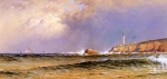 Alfred Thompson Bricher - paintings - Coastal Scene with Lighthouse