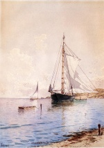 Alfred Thompson Bricher - paintings - Drying the Main at Anchor