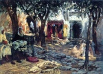 Frederick Arthur Bridgman - Bilder Gemälde - Idle Moments an Arab Courtyard