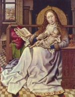 Robert Campin - paintings - The Virgin and Child before a Firescreen