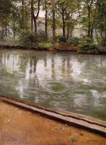 Gustave Caillebotte - Bilder Gemälde - The Yerres Rain (Riverbank in the Rain)