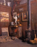 Gustave Caillebotte - Bilder Gemälde - Interior of a Studio with Stove