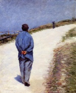 Gustave Caillebotte - Bilder Gemälde - Man in a Smock (Father Magloire on the Road between Saint Claire and Etretat)