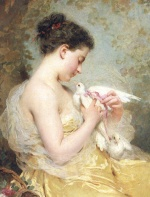 Charles Chaplin - Bilder Gemälde - A Beauty with Doves