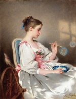 Charles Chaplin - paintings - Blowing Bubbles