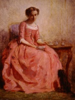 Charles Chaplin - Bilder Gemälde - Girl in a Pink Dress Reading with a Dog