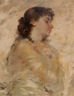 Charles Chaplin - Bilder Gemälde - Portrait of a Young Woman in Profile