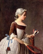 Jean Simeon Chardin - Bilder Gemälde - Girl with a Featherball Racket