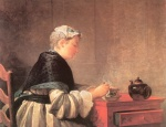 Jean Simeon Chardin - Bilder Gemälde - Lady Taking Tea