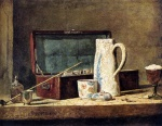 Jean Simeon Chardin - Bilder Gemälde - Pipes And Drinking Pitcher