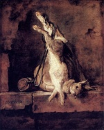Jean Simeon Chardin - Bilder Gemälde - Rabbit with Game Bag and Powder Flask