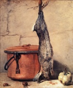 Jean Simeon Chardin - paintings - Rabbit, Copper Cauldron and Quince