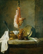 Jean Simeon Chardin - paintings - Still Life with a Rib of Beef