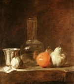 Jean Simeon Chardin - Bilder Gemälde - Still Life with Carafe, Silver Goblet and Fruit