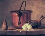 Jean Simeon Chardin - Bilder Gemälde - Still Life with Copper Cauldron and Eggs