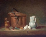 Jean Simeon Chardin - Bilder Gemälde - Still Life with Copper Pan and Pestle and Mortar