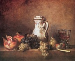 Jean Simeon Chardin - paintings - Still Life with Grapes and Pomegranates