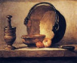 Jean Simeon Chardin - Bilder Gemälde - Still Life with Pestle, Bowl, Copper Cauldron, Onions and a Knife