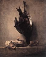 Jean Simeon Chardin - paintings - Still Life with Dead Pheasant and Hunting Bag