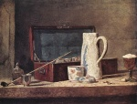 Jean Simeon Chardin - Bilder Gemälde - Still Life with Pipe and Jug