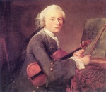 Jean Simeon Chardin  - Bilder Gemälde - Young Man with a Violin (Charles Godefroy)