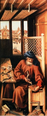 Robert Campin - Bilder Gemälde - St. Joseph Portrayed as a Medieval Carpenter
