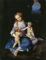 Correggio - Bilder Gemälde - Madonna and Child with the Young Saint John